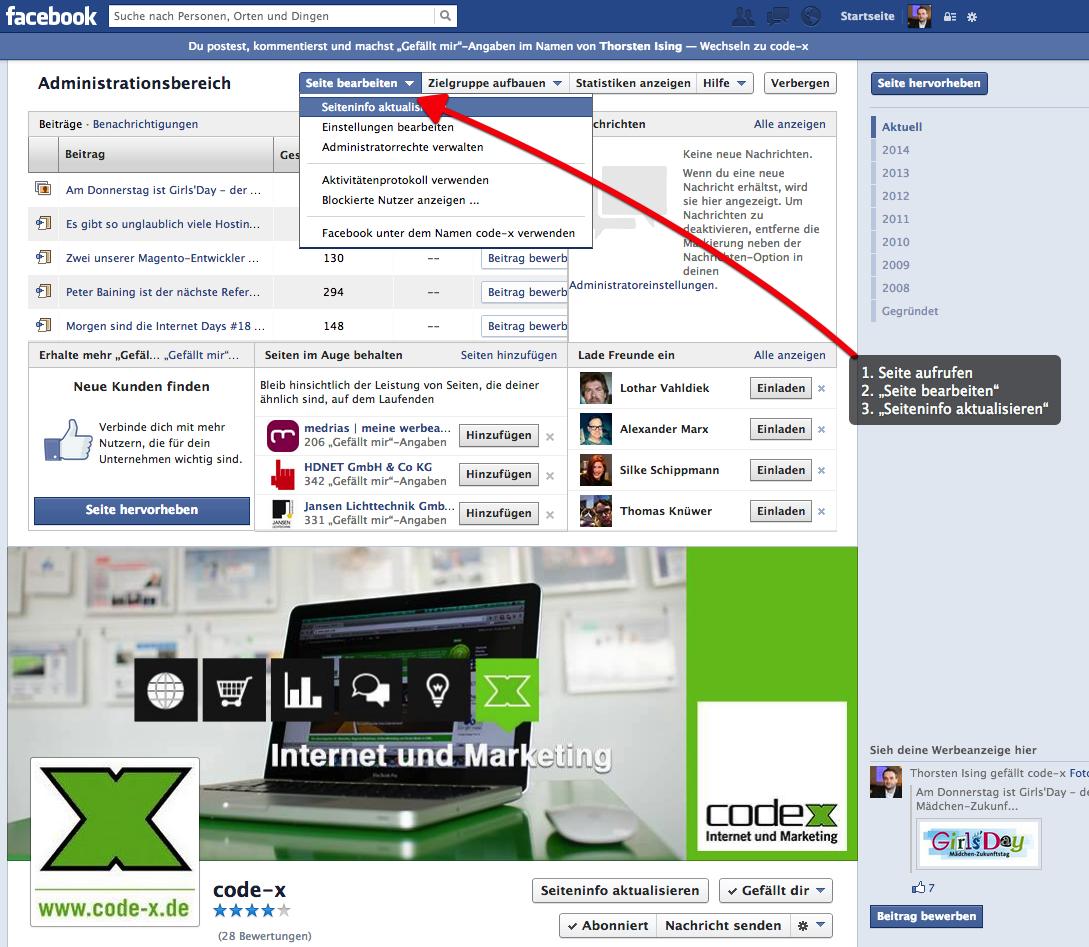 Facebook Impressum mit eigenem Feld einrichten: Teil 1