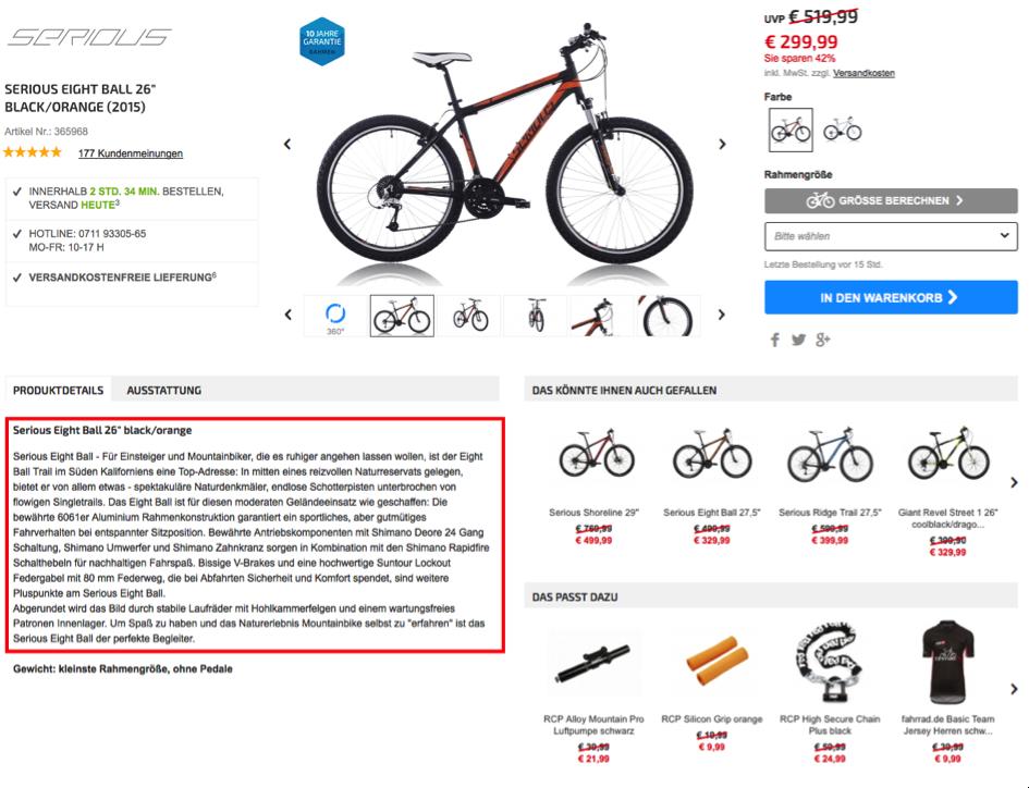 fahrrad.de - Produktseite