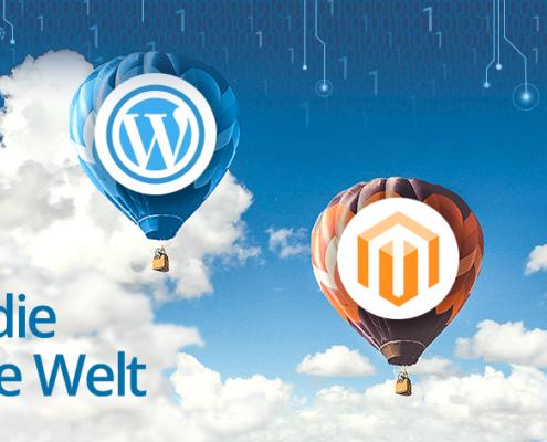 zwei Heißluftballons mit den Bild-Marken von WordPress und Magento