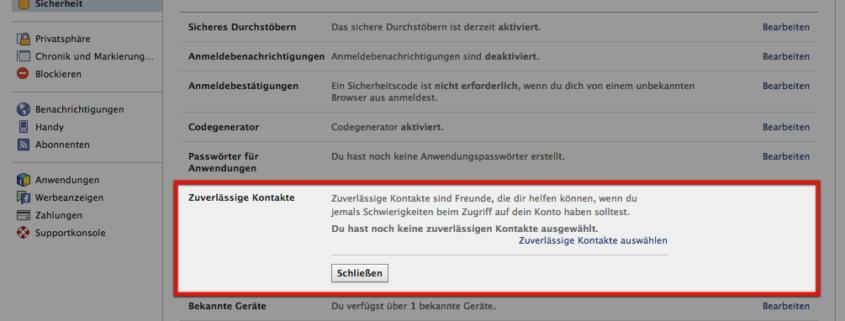 Sicherheitseinstellung: Zuverlässige Kontakte bei Facebook