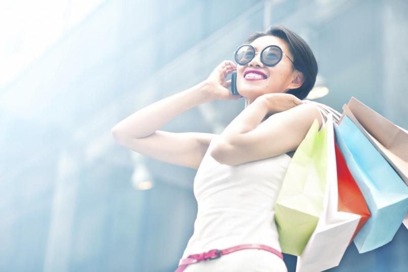Shoppende Frau