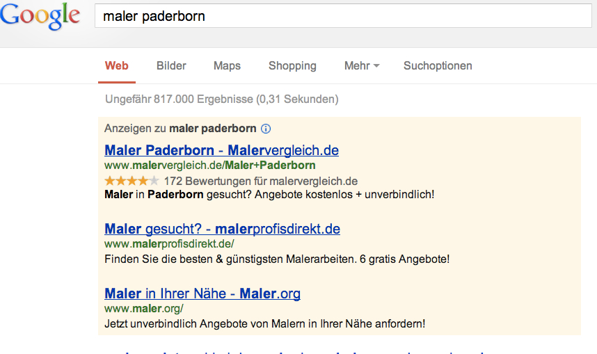 Adwords Paderborn für Maler