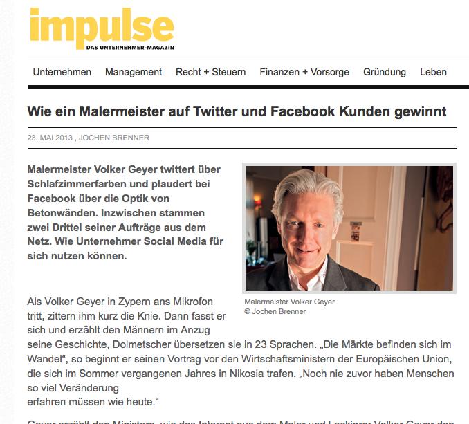 Bericht über die Erfolgsgeschichte von Volker Geyer auf impulse.de