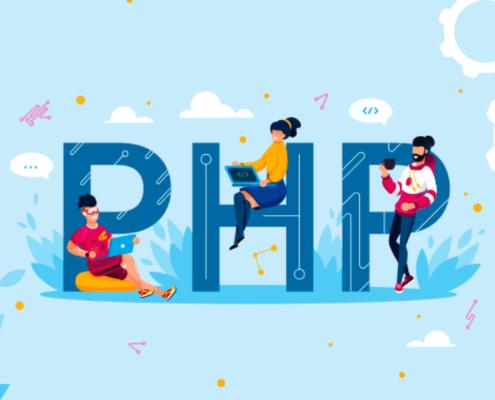 Die Buchstaben PHP auf hellblauem Hintergrund