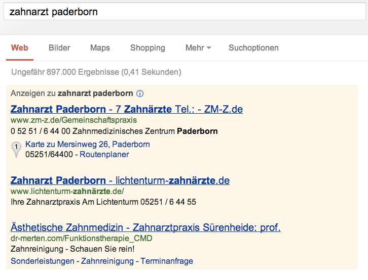 Adwords für Zahnärzte in Paderborn